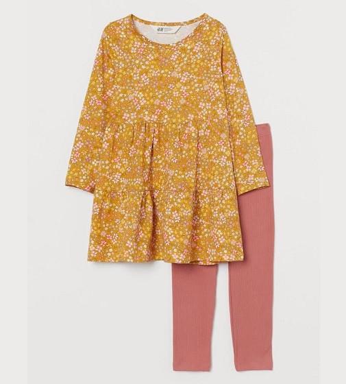 Купити Набір Jersey dress and leggings H&M Желтый/Цветы - фото 1