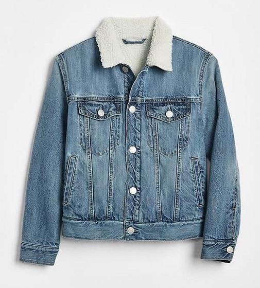 Купити Джинсова куртка на шерпі Gap Синя 1969 - фото 1