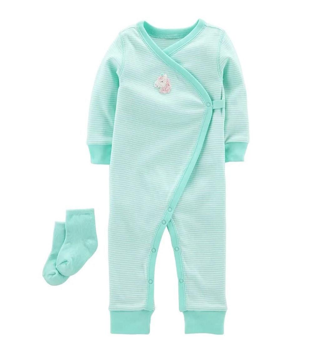 Купити Сліп Бавовняний з носочками Carters Ментол - фото 1