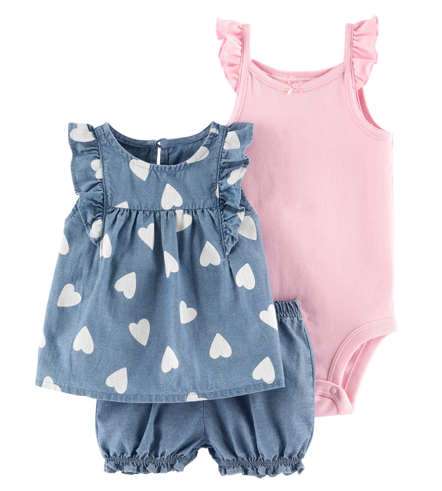 Купити Костюм 3в1 Carters Chambray Blue/Pink - фото 1