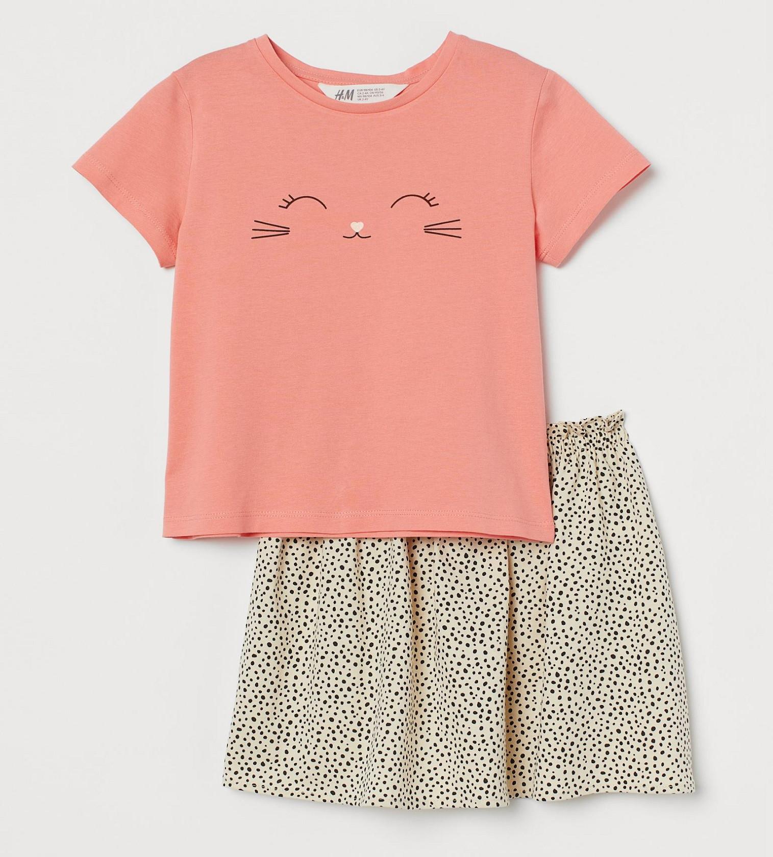 Купити Комплект H&M Кораловий рожевий / Кішка - фото 1