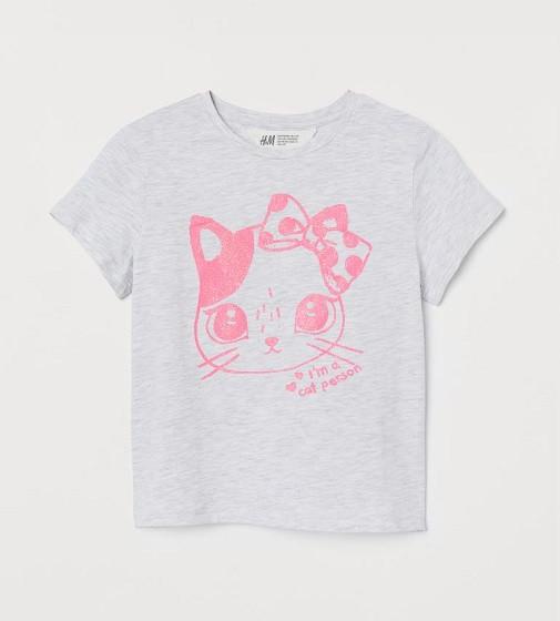 Купити Футболка H&M Сірий меланж / Кішка - фото 1