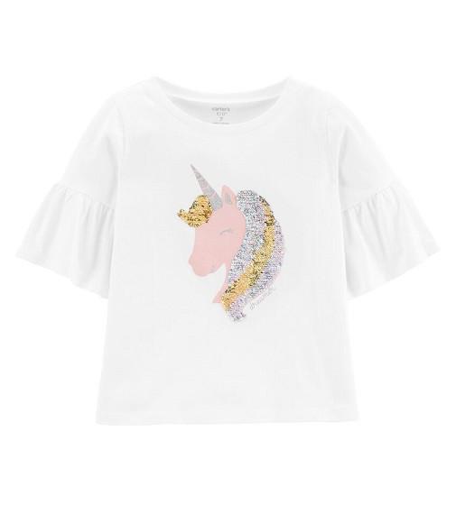 Купити Футболка Carters Glitter Flip Unicorn: White - фото 1