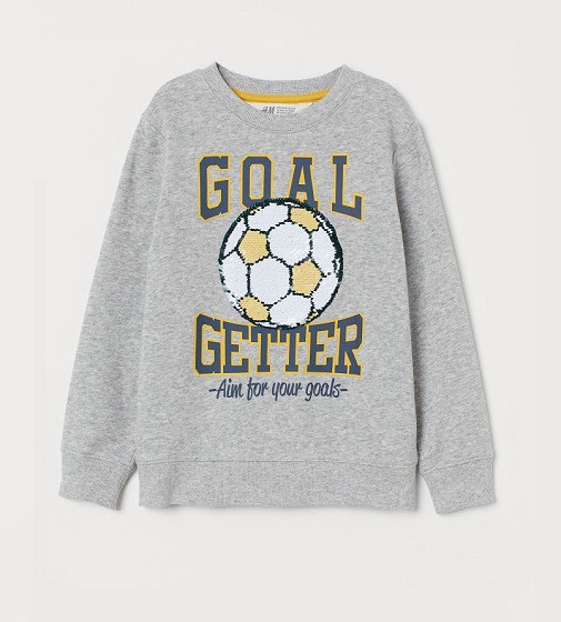Купити Світшот H&M Sequined: Light grey marl/Football - фото 1