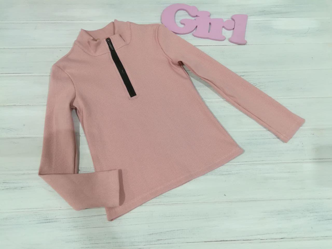 Купити Гольфик рубчик Блискавка рожева пудра - фото 1