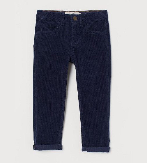 Купити Вельветові штани H&M Slim Fit: Темно-синій - фото 1