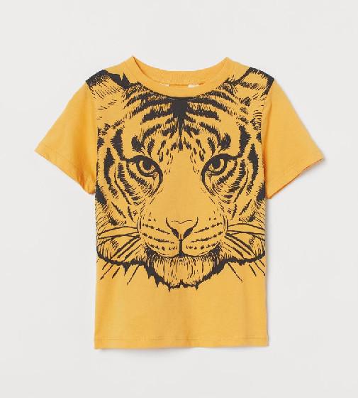 Купити Футболка H&M Жовта принт тигра - фото 1