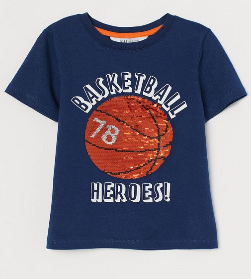 Купити Футболка H&M синя з двосторонніми паєтками Баскетбольного м'яча - фото 1