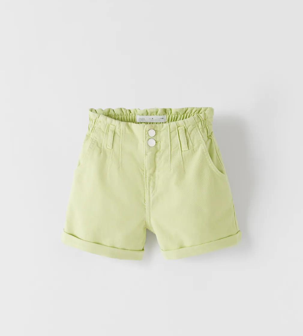 Купити Джинсові шорти-БЕРМУДИ Zara яблучно-зеленого кольору - фото 1