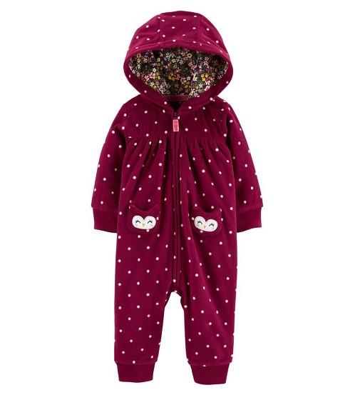 Купити Комбінезон флісовий Carters Owl Hooded Zip-Up Fleece: Burgundy - фото 1