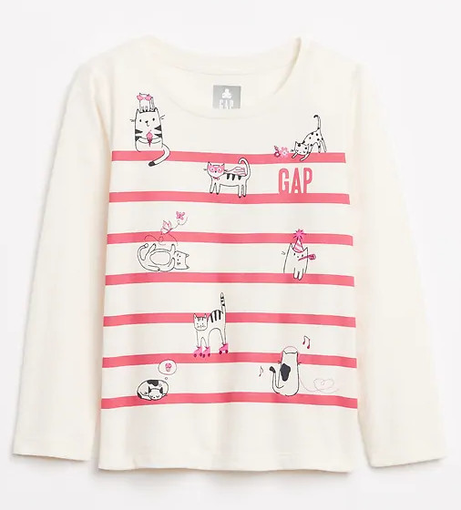 Купити Реглан Gap в смужку з принтом кішечок - фото 1