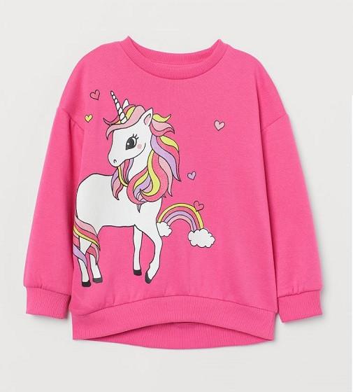 Купити Світшот H&M Printed Sweatshirt: CERISE/UNICORN - фото 1