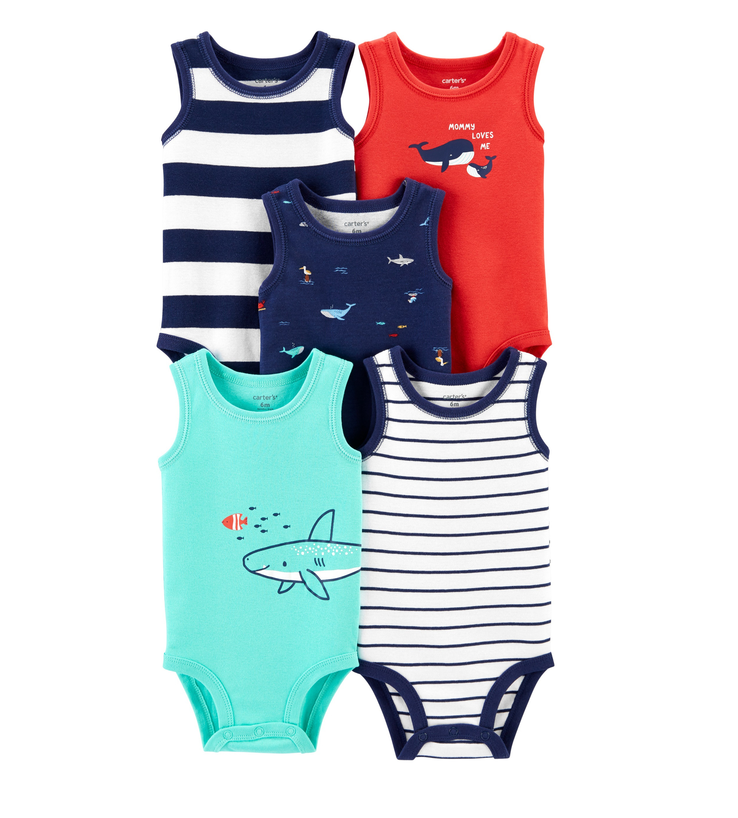 Купити Набір боді Carters 5-Pack Navy/Turquoise/Red - фото 1