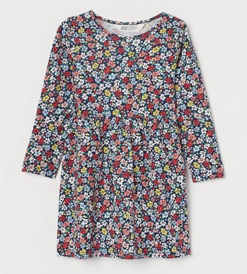 Купити Сукня H&M Cotton Jersey: Navy blue/floral - фото 1