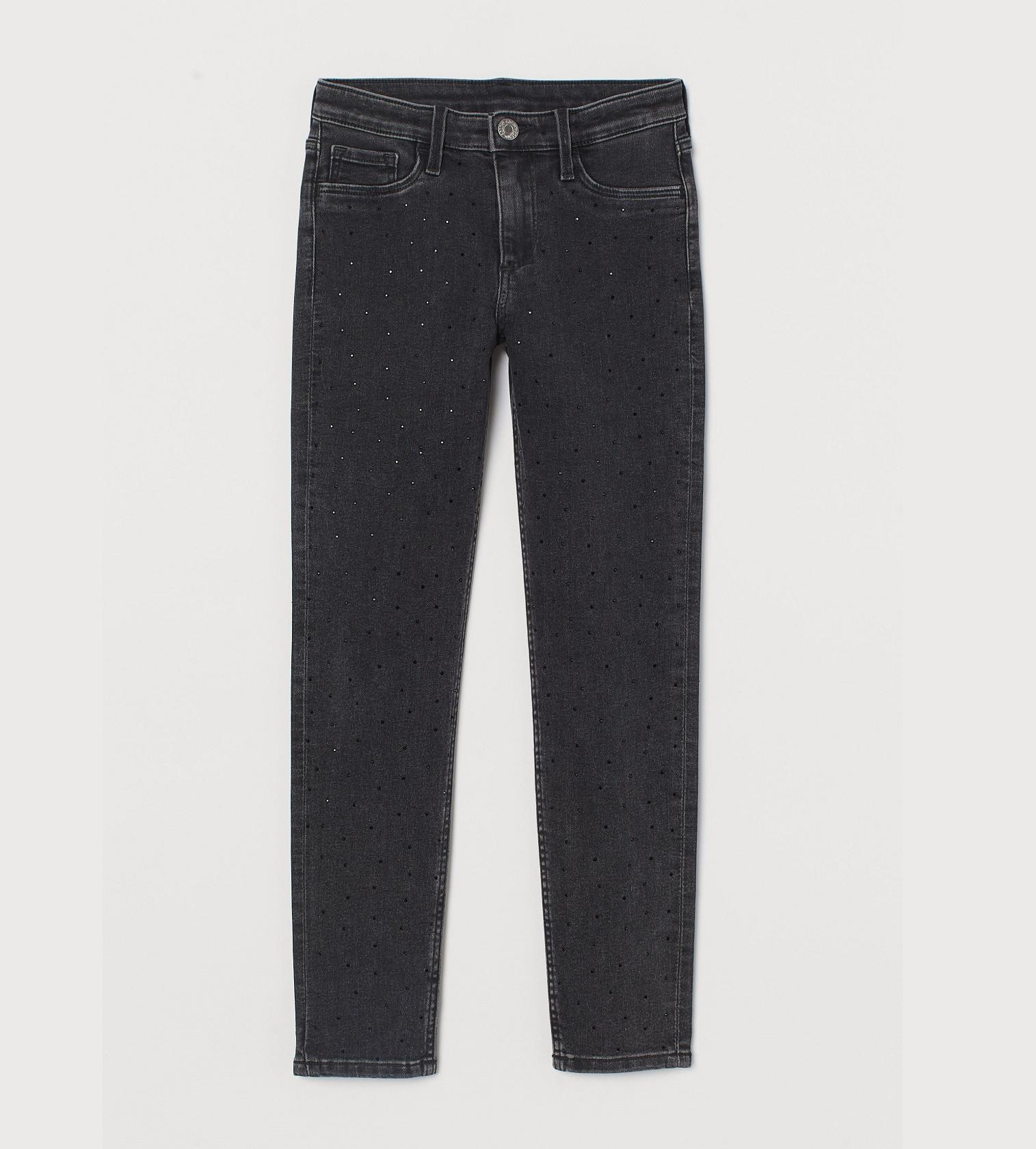 Купити Джинси з каміннями H&M Studded Skinny Fit: Noir - фото 1