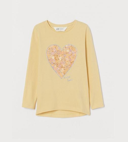 Купити Реглан H&M Printed Jersey: LIGHT YELLOW/HEART - фото 1