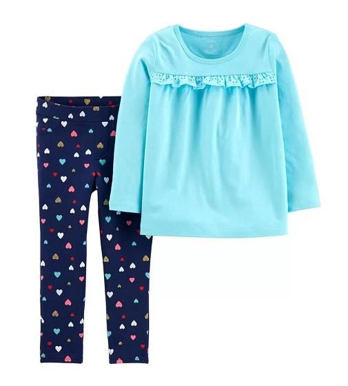 Купити Набір 2-Piece Jersey Top & Heart Legging Set: Blue - фото 1