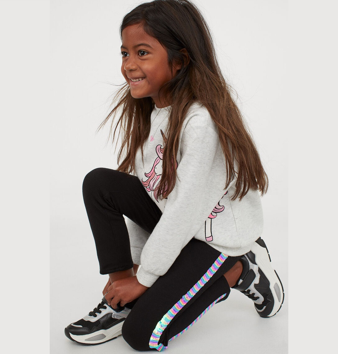 Купити Легінси H&M Side-panel Leggings: Black/Sequins - фото 1