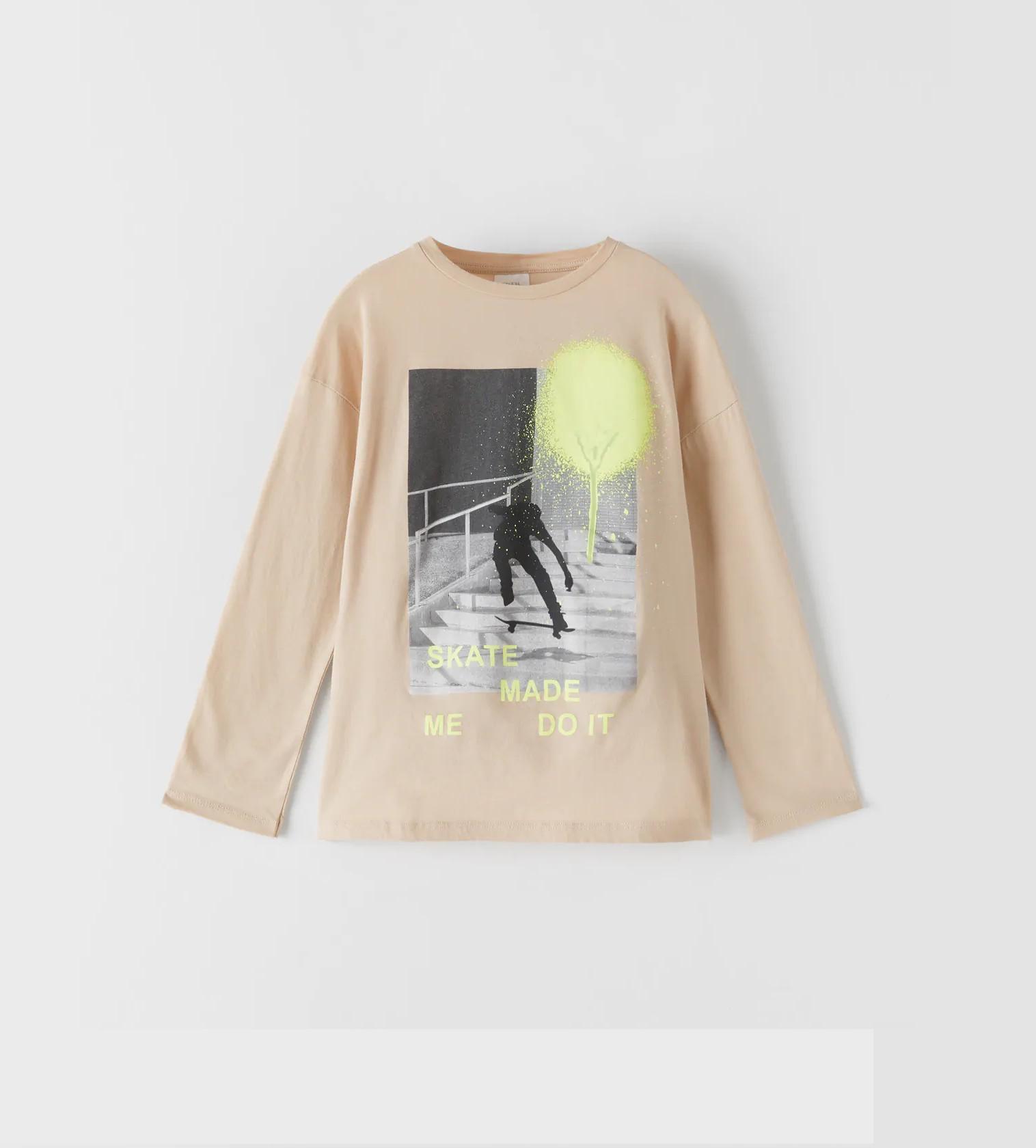 Купити Реглан Zara з принтом скейтери - фото 1