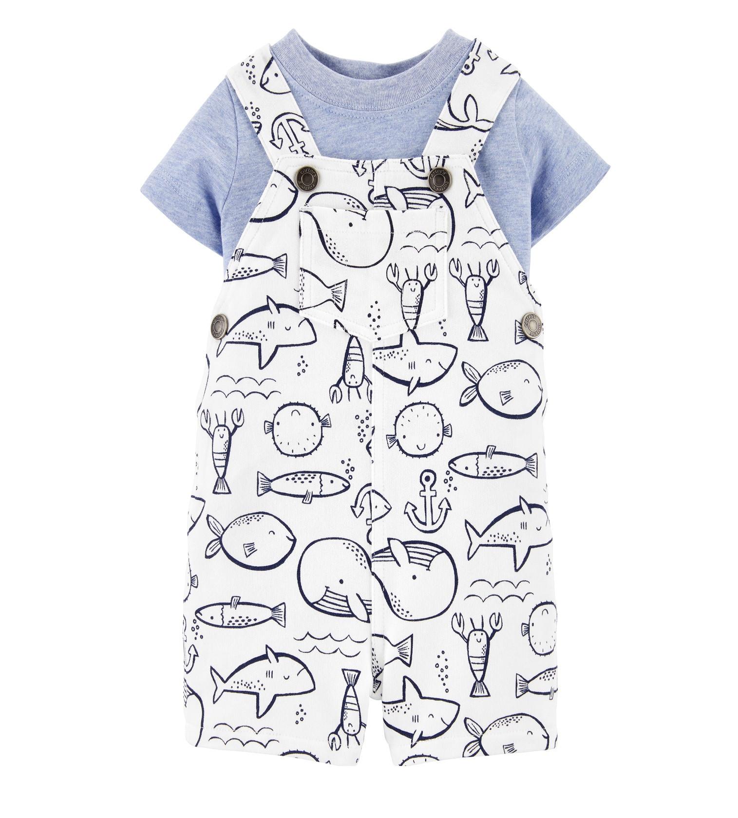 Купити Набір Комбінезон і футболка Carters White / Blue Підводний світ - фото 1