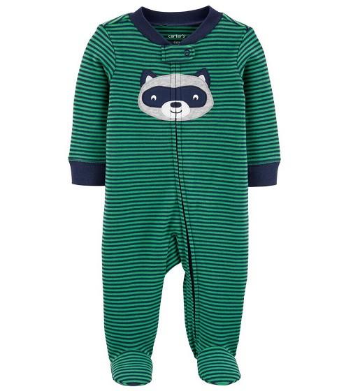 Купити Сліп Бавовняний Carters Green/Navy Striped Raccoon - фото 1