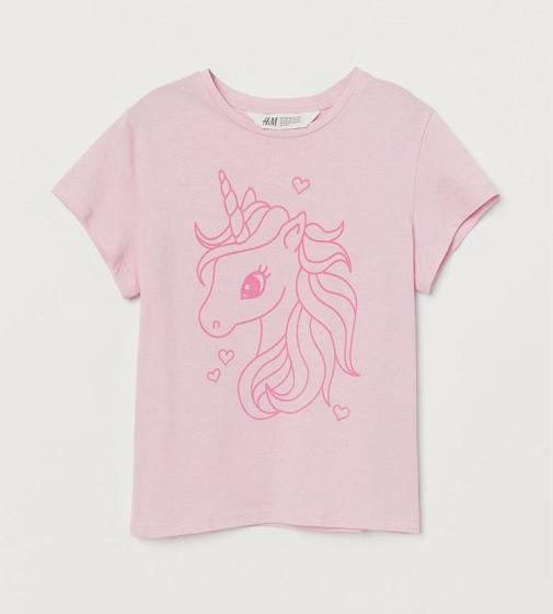 Купити Футболка H&M Світло-рожева / Єдиноріг - фото 1