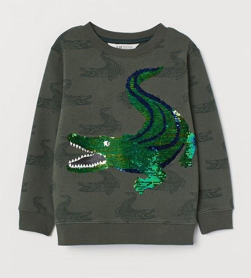 Купити Світшоти H&M з паєтками: Темно-зелений хакі/Крокодили - фото 1