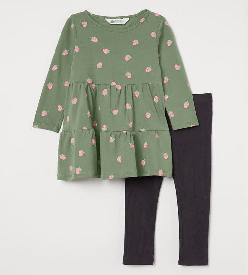 Купити Набір Jersey dress and leggings H&M Зеленый хаки/Клубника - фото 1