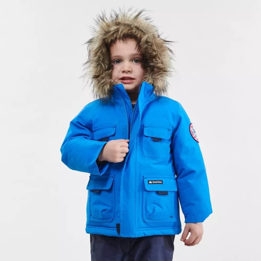 Купити Парка блакитна зима зсередини помаранчева на капюшоні хутро - фото 1