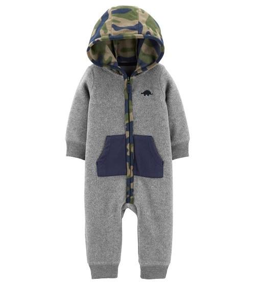 Купити Комбінезон флісовий Carters Hooded Fleece Jumpsuit: Heather - фото 1