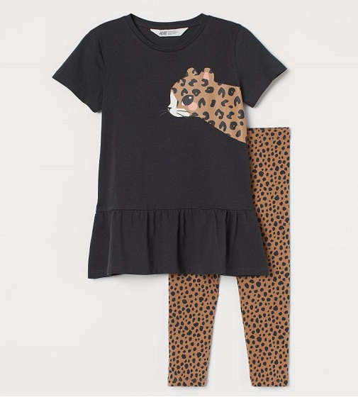 Купити Набір H&M cotton set: Dark grey/Leopard - фото 1