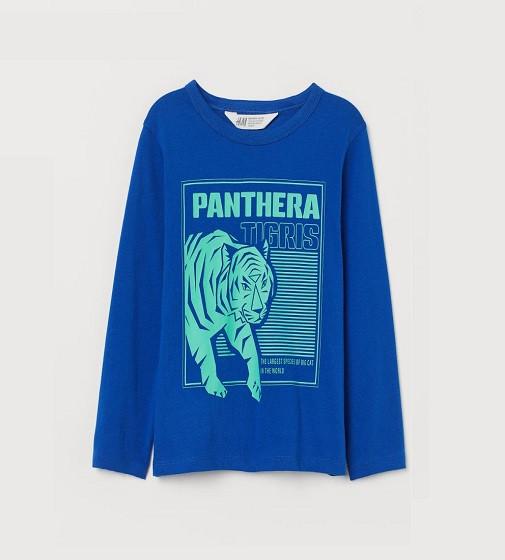 Купити Реглан H&M Printed jerse: Bright blue/Tiger - фото 1