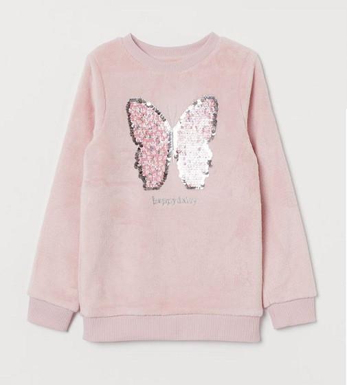 Купити Свішот H&M з плюшу з паєтками Світло-рожевий/Метелик - фото 1