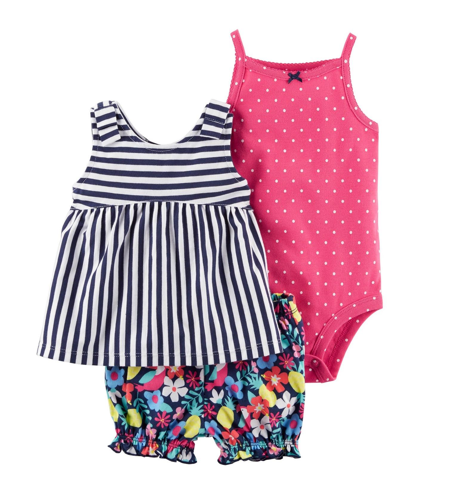 Купити Костюм 3в1 Carters Diaper Cover Set Pink - фото 1