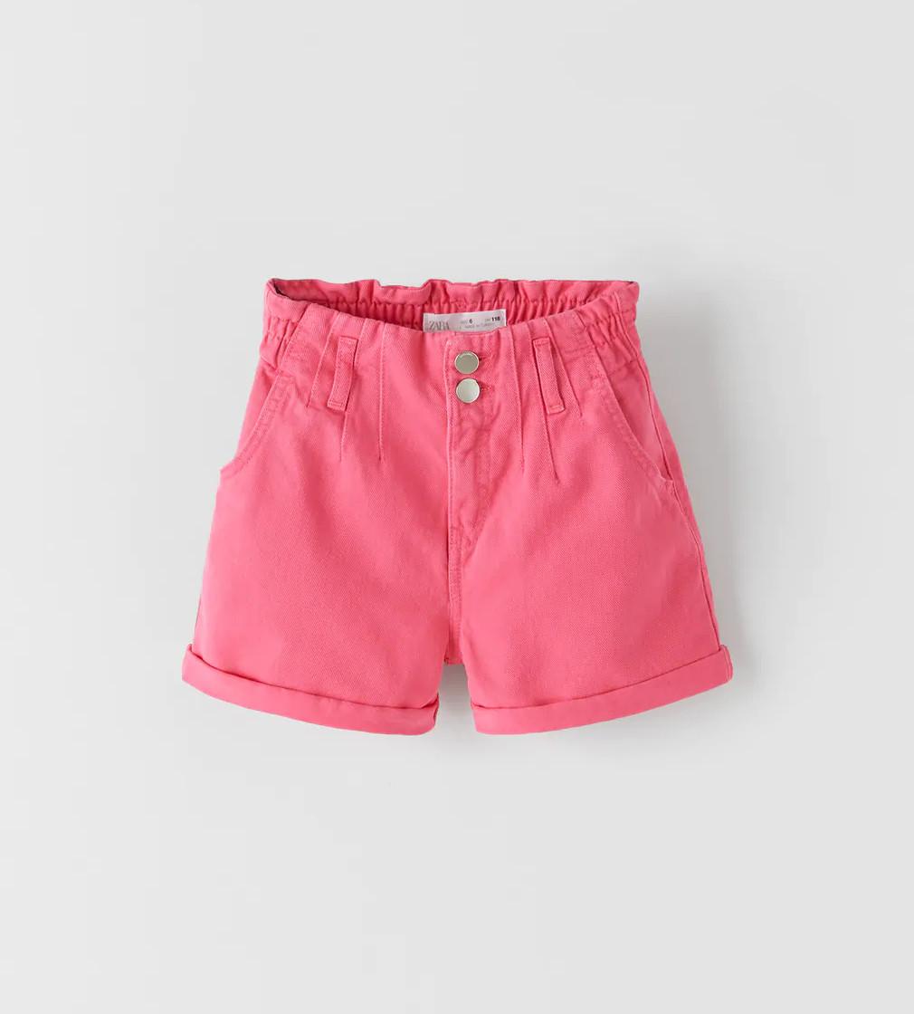 Купити Джинсові шорти-БЕРМУДИ Zara кольору фуксії - фото 1